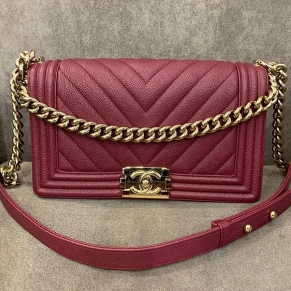 CHANEL Handbags - Chanel le boy medium gold burgundy